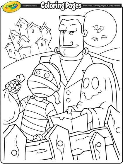 Halloween TrickorTreaters Coloring Page
