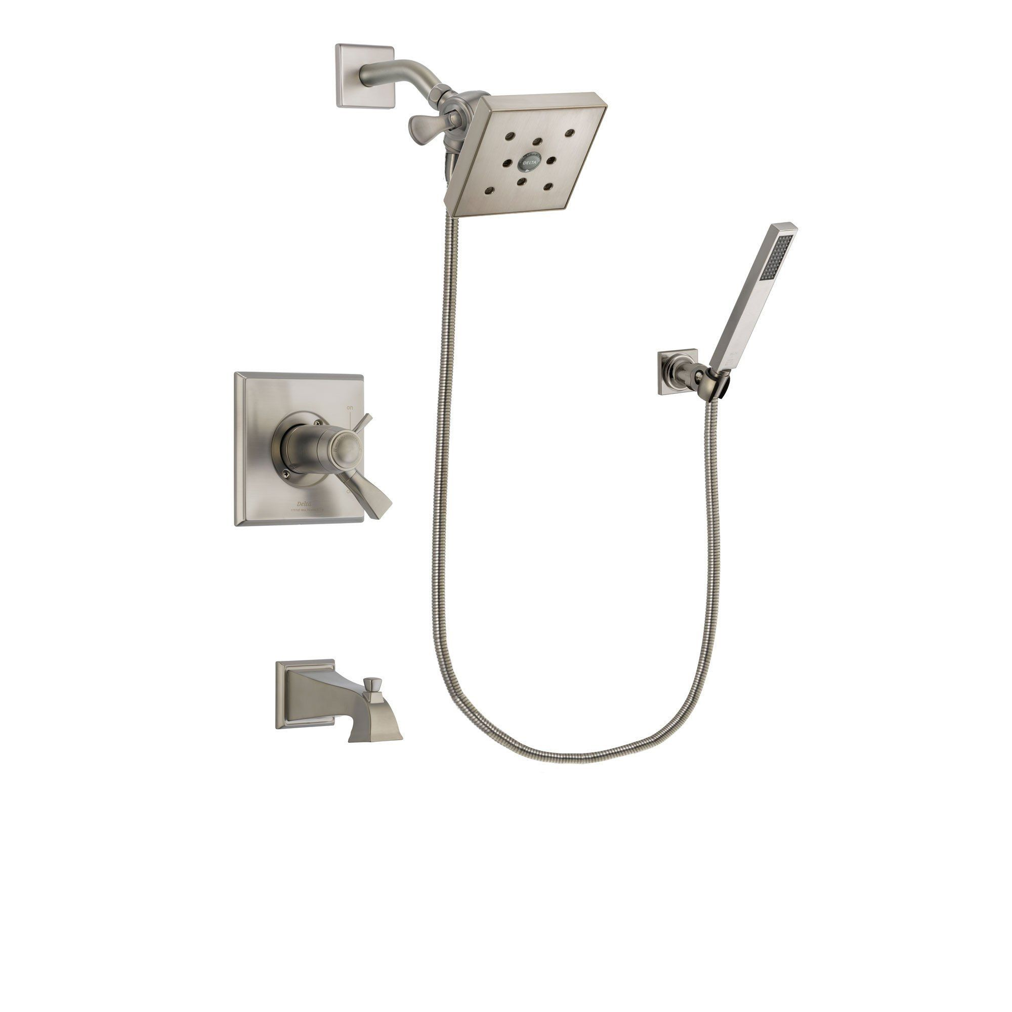 Delta Dryden Stainless Steel Finish Thermostatic Tub And Shower Faucet  System Package With Square Shower Head