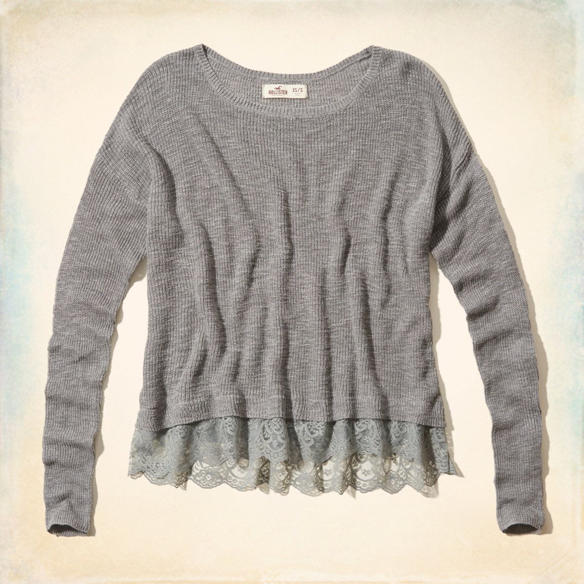 Girls alcazar lace hem sweater girls new arrivals hollisterco