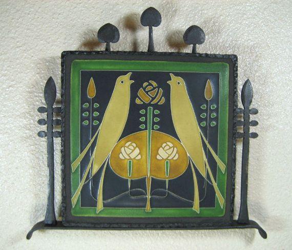 arts & crafts motawi double songbird tile by Bushereironstudio, $495.00