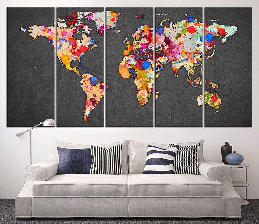 Paint Splashes World Map Canvas Print Large Wall Art World Map Art - World map for office wall