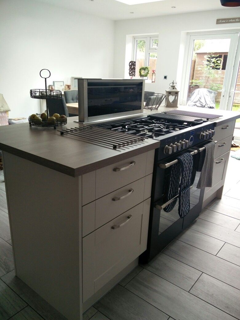 Kitchen Island With Built In Range Cooker And Pop Up Extractor Fan Idea Was In Our Head Kitchen Island With Stove Kitchen Design Small Range Cooker Kitchen