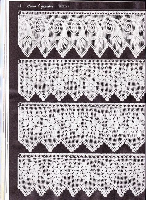 Duplet 138 P44 Four Beautiful Filet Lace Edgings With Floral Motifs