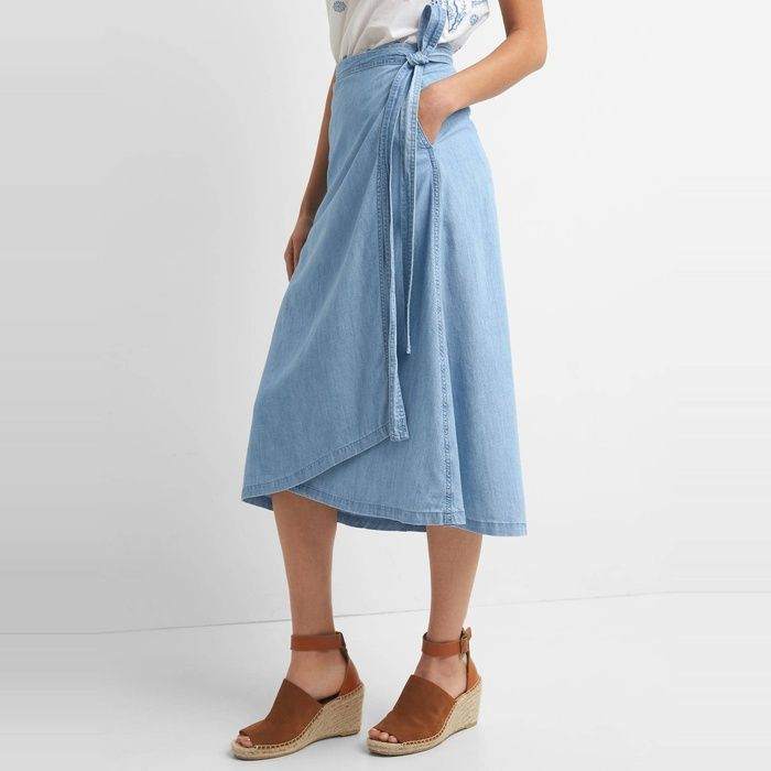 740d829a0 10 Best Denim Skirts For All Ages - #3 GAP TENCEL Denim Wrap Skirt  #rankandstyle