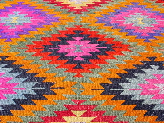 Vintage Turkish Area Rug Kilim Carpet Handwoven Por So