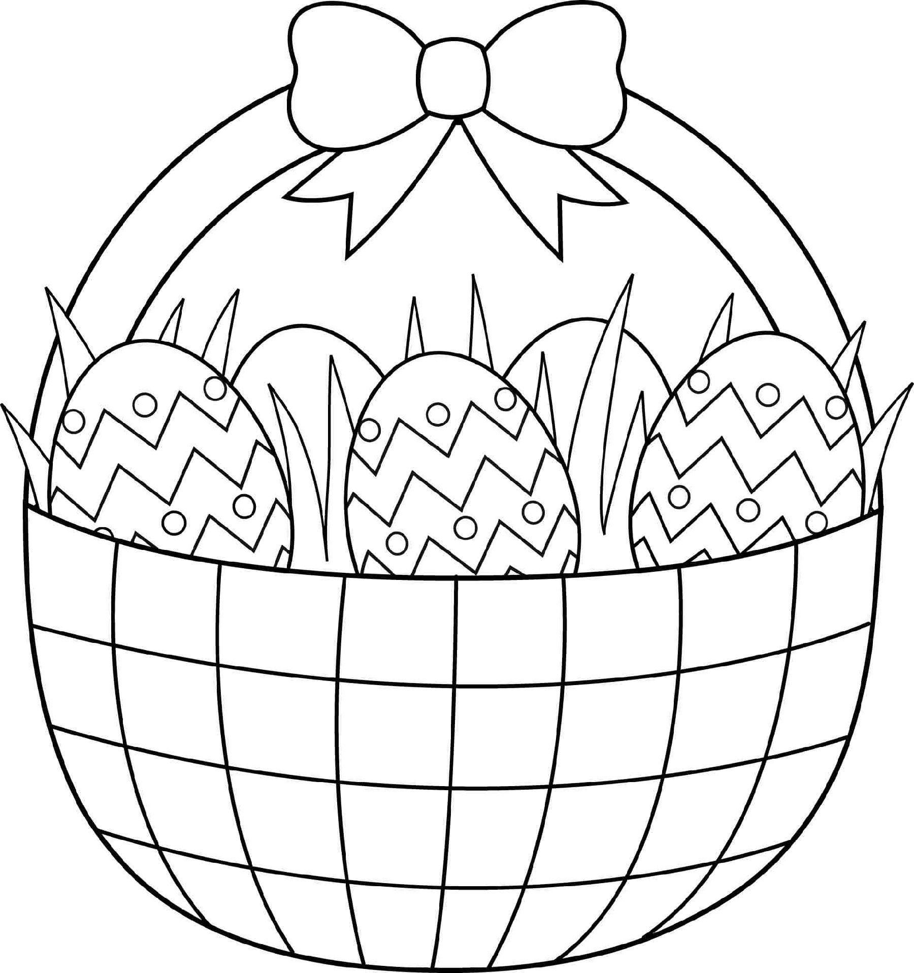 Printable Easter Eggs Basket Coloring Pages