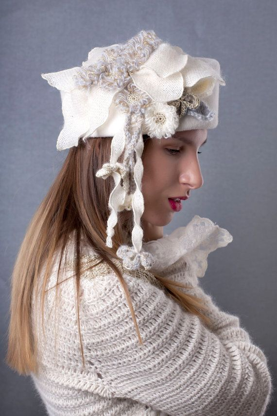 Snow queen wedding hat with crochet flowers by Irina Sardareva Couture  Millinery 2ce6a5b49bce