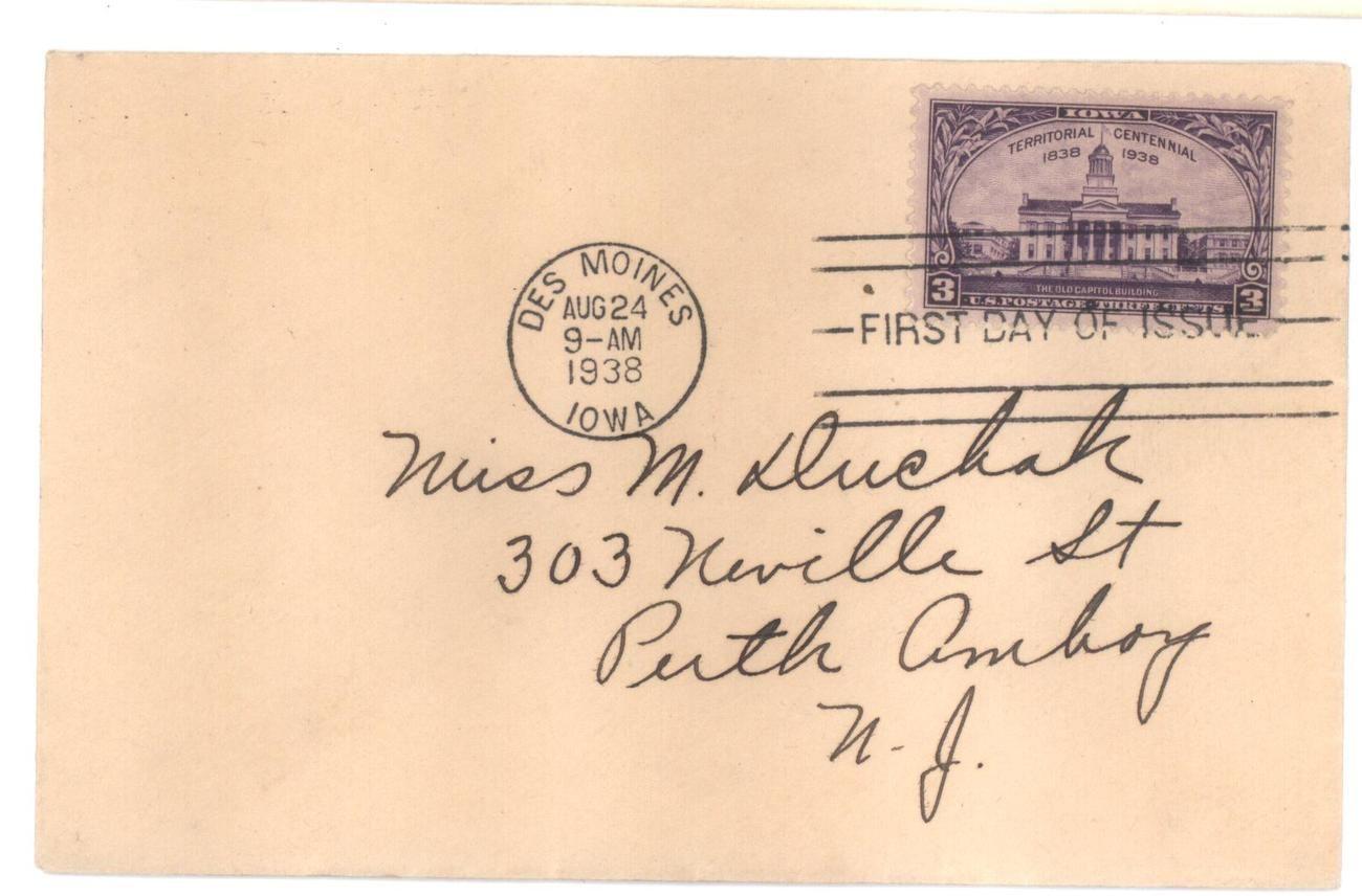 Iowa Territorial Centennial first day cover Aug 24, 1938