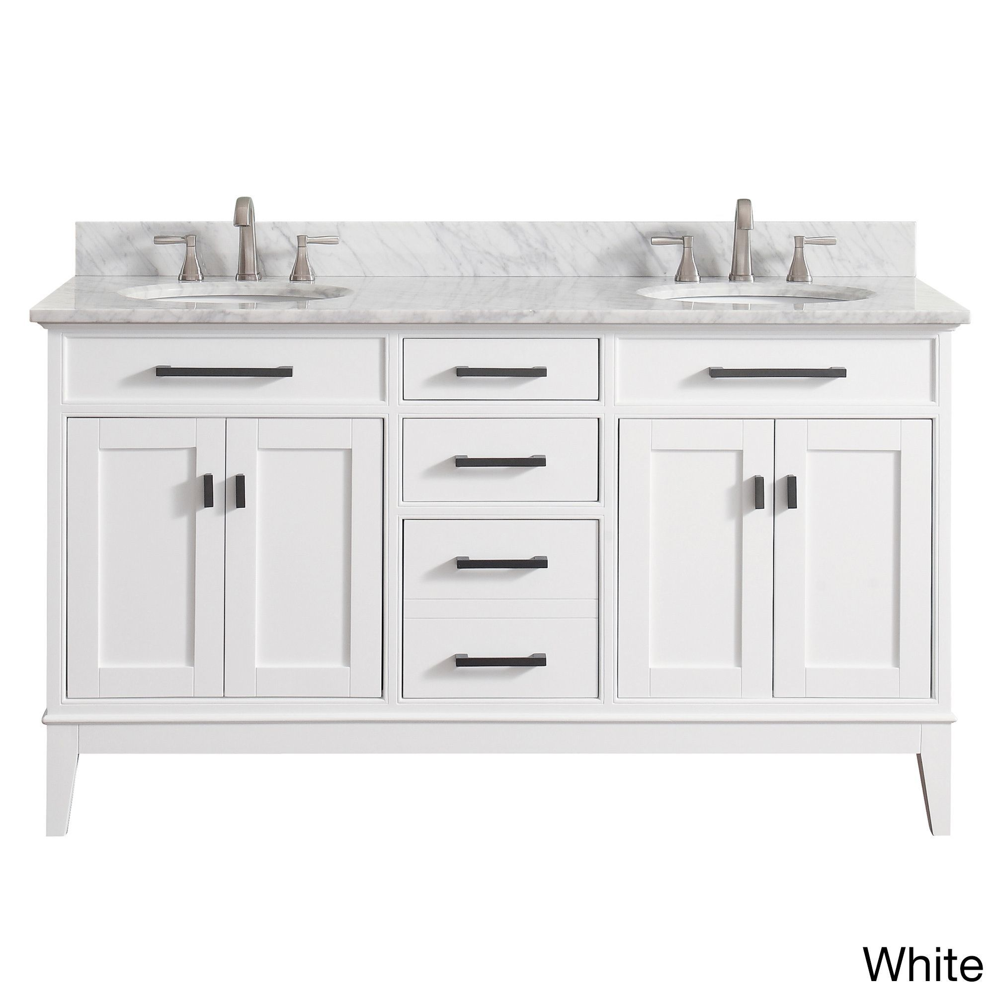 Avanity Madison 61 Inch Double Sink White Finish Vanity Combo Madison 61 In Vanity In White W White Top Size Double Vanities Vanity Sink Beige Marble Double Sink Vanity