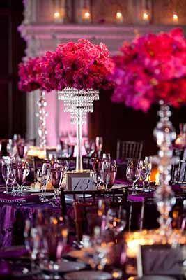 Violet And Fuchsia Wedding Ideas Crystal Centerpieces Wedding