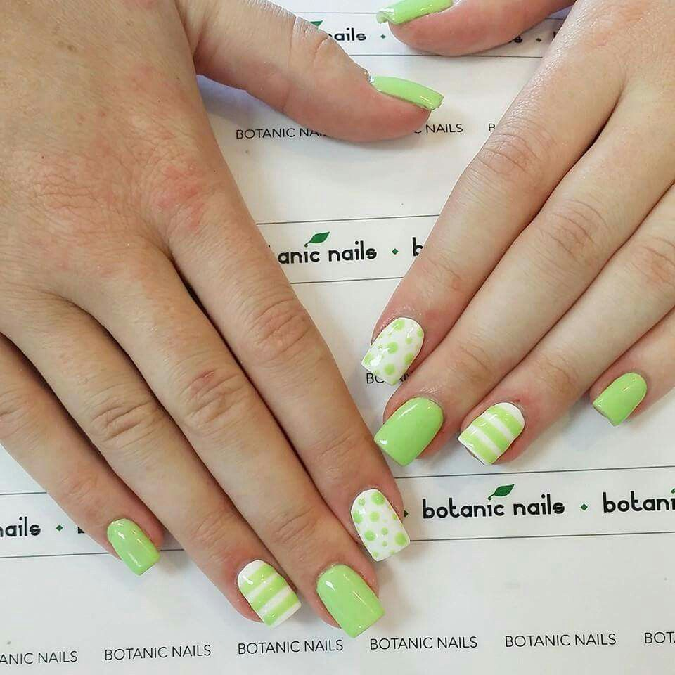 Beautiful Green Stripes and Dots by Nail Art Journal | Nails ...