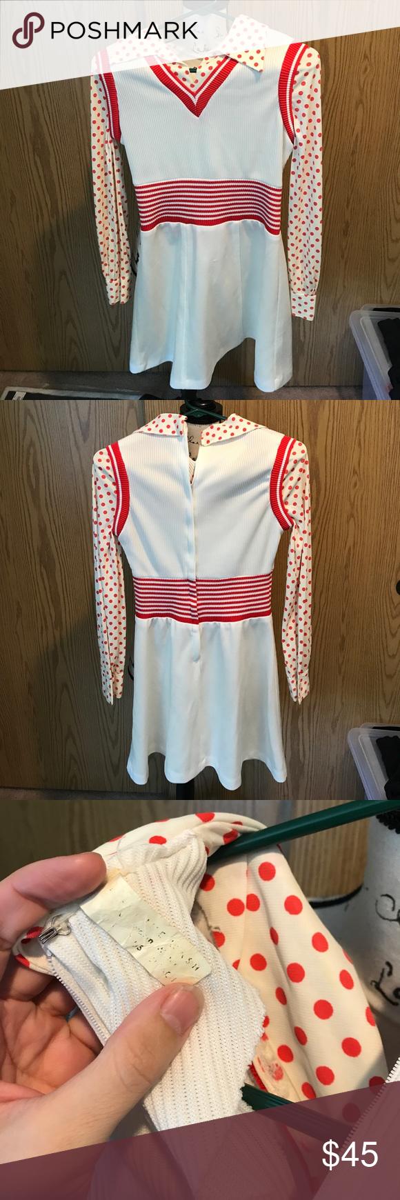 Vintage mod secretary redwhitepolka dots dress