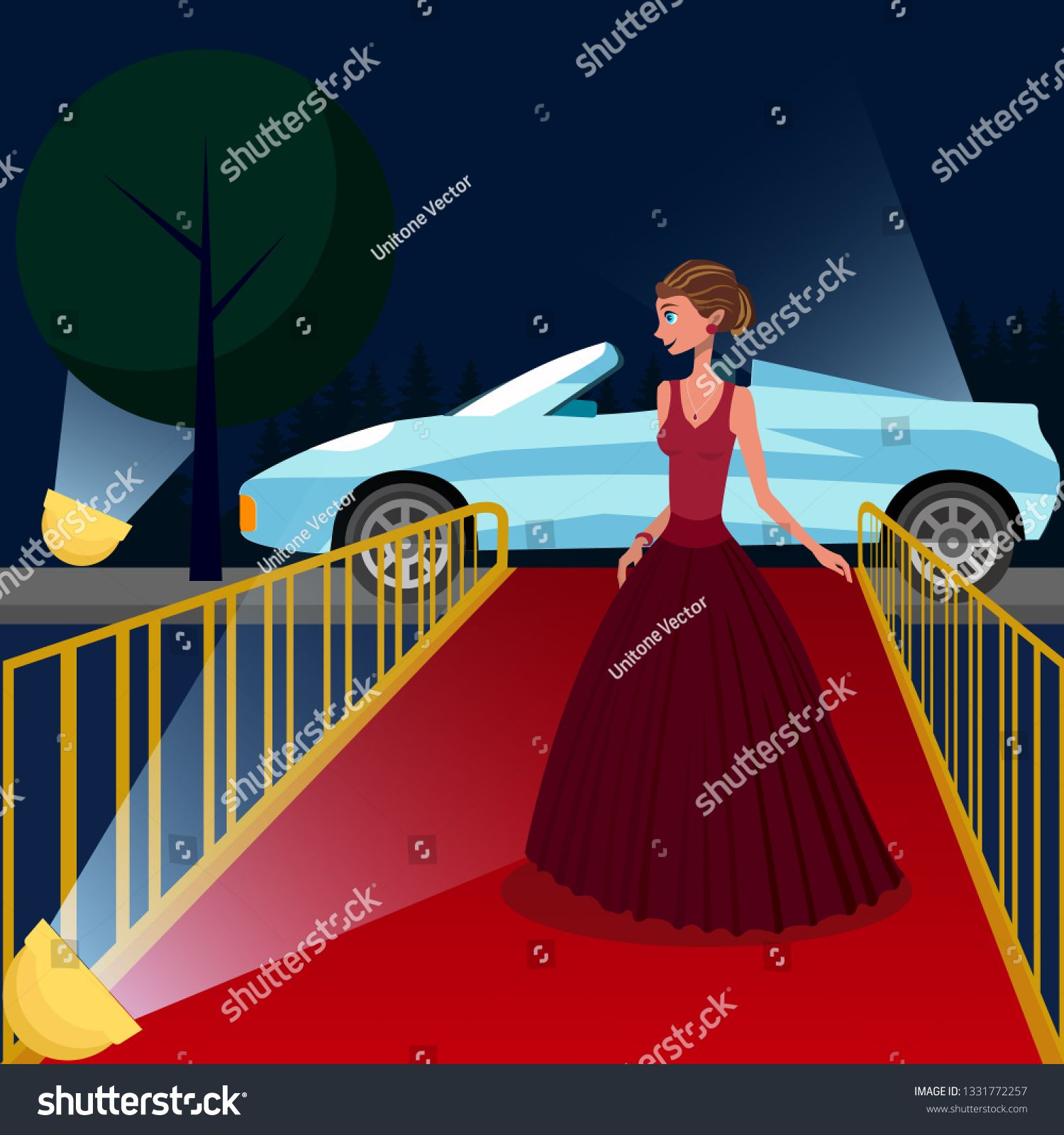 Young Woman At Vip Event Cartoon Illustration Girl In Luxury Evening Gown On Red Carpet Female Celebrity M Cartoon Illustration Fashion Models Flat Drawings