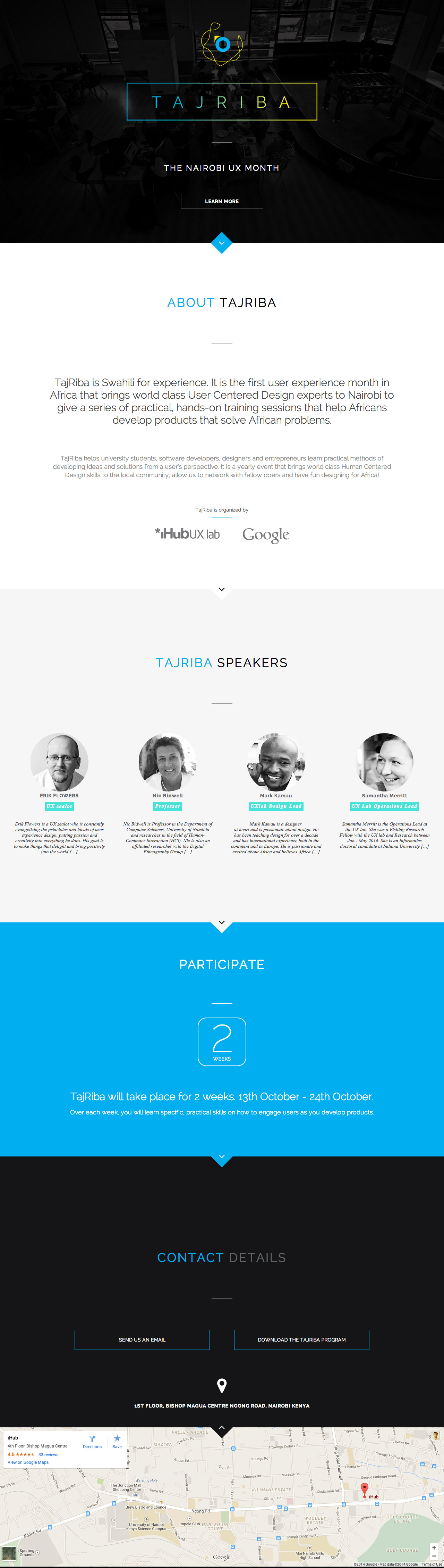 Responsive Landing Page For Tajriba The Annual Ux Event By Ihub Held In Nairobi Kenya Tajriba Is Swahili For Ex One Page Website First Page Landing Page