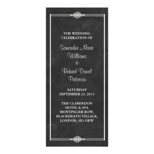 Vintage Chalkboard Wedding Programs Rack Card Design  Wedding