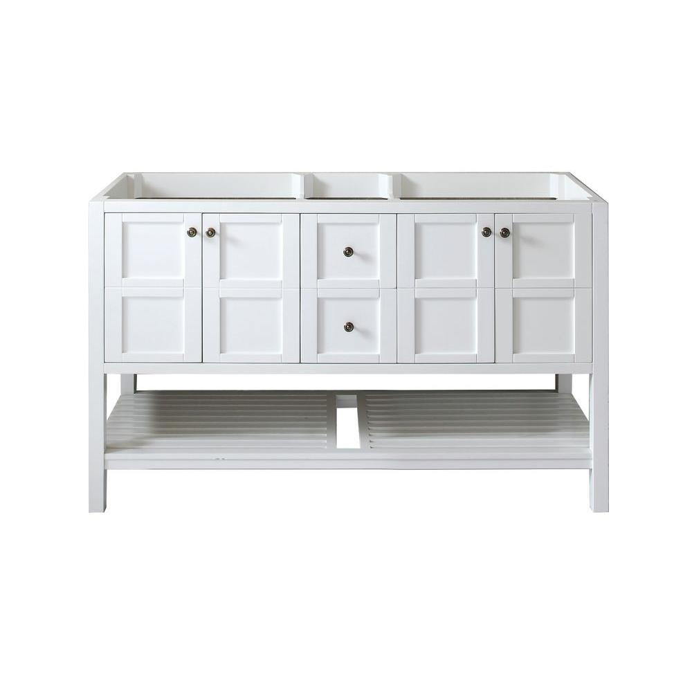 Virtu Usa Winterfell 60 In W Bath Vanity Cabinet Only In White Ed 30060 Cab Wh The Home Depot Bathroom Vanities Without Tops Vanity Cabinet Bathroom Vanity Base