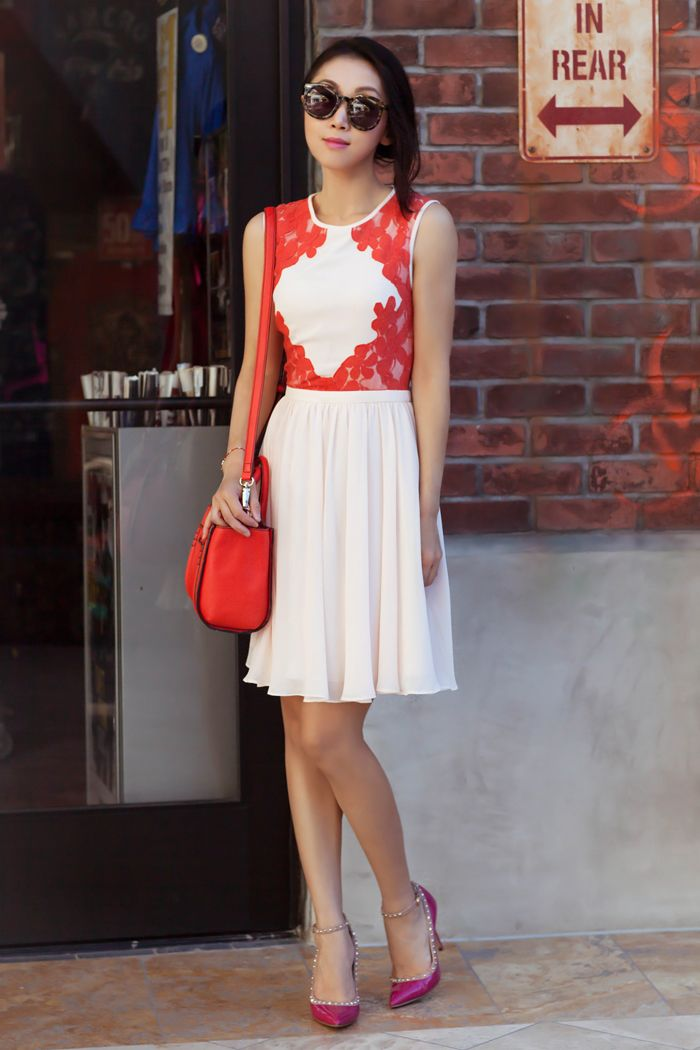 Red and pink color block dress