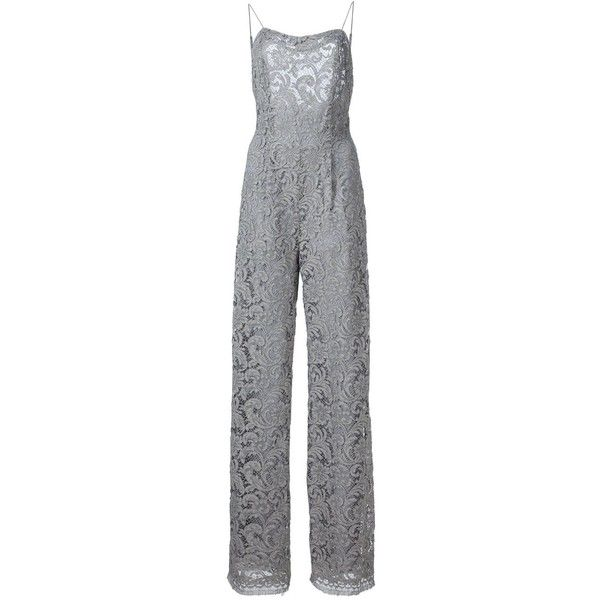 Adam Lippes Baroque Lace Sleeveless Jumpsuit (£1,280) ❤ liked on Polyvore featuring jumpsuits, grey, sleeveless jumpsuit, grey jumpsuit, adam, gray jumpsuit and jump suit
