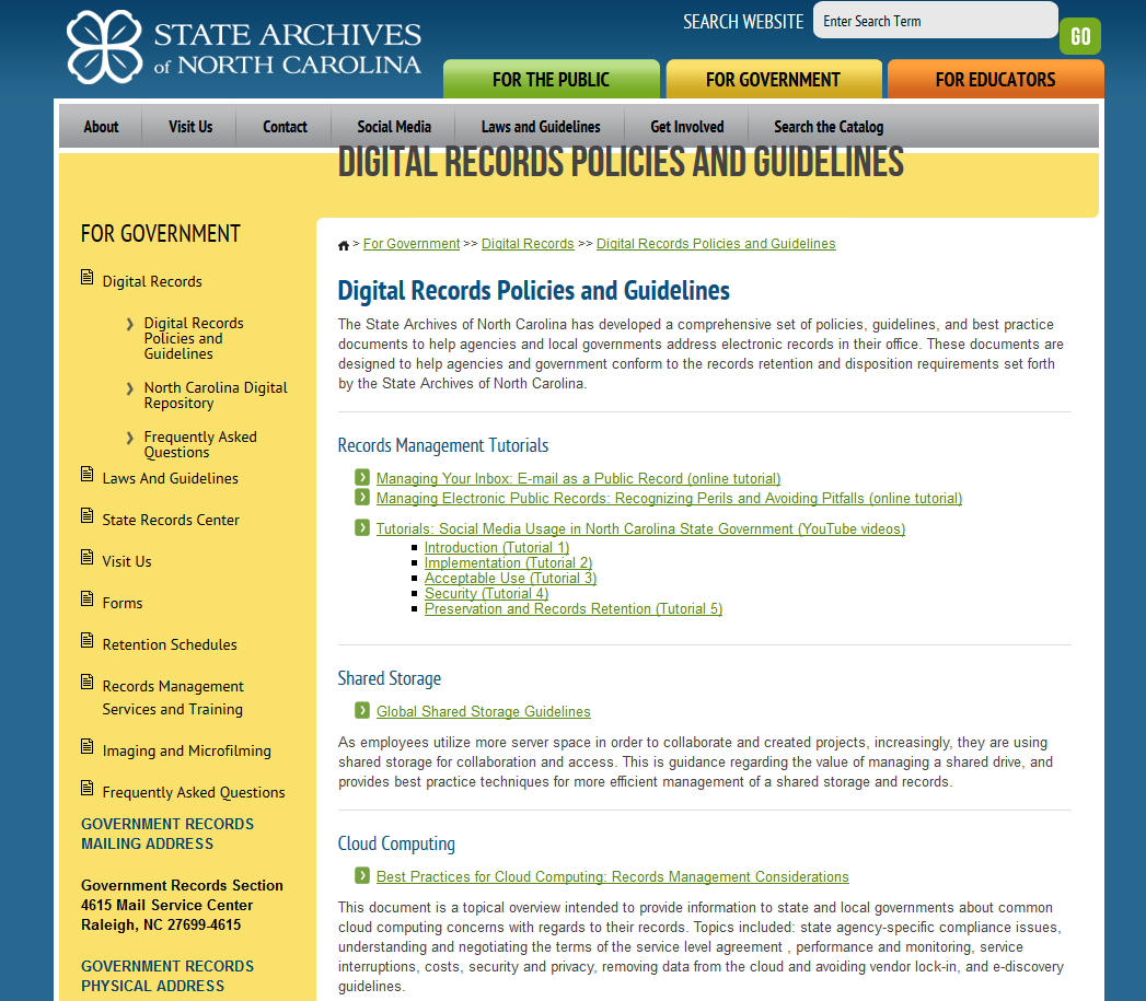 State Archives Of North Carolina  Digital Records Policies And