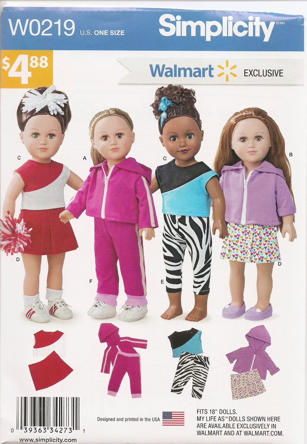 Simplicity Sewing Pattern 0219 Walmart Exclusive 18 Doll Clothes Cheerleader Pants Top Hoodie Skir Doll Clothes 18 Inch Doll Clothes Pattern Girl Doll Clothes