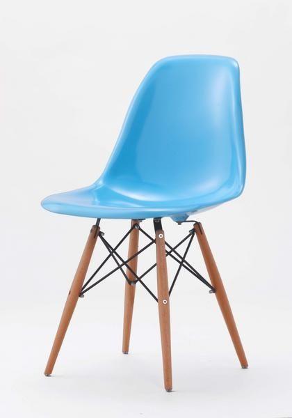Eames イームズDSWサイドシェルチェアーEamesライトブルー 艶 木脚 北欧 インテリア 雑貨 家具 Modern ¥7980yen 〆05月18日