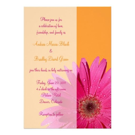Orange And Pink Gerbera Daisy Wedding Invitation Zazzle Com Daisy Wedding Invitations Daisy Wedding Gerbera Daisy Wedding