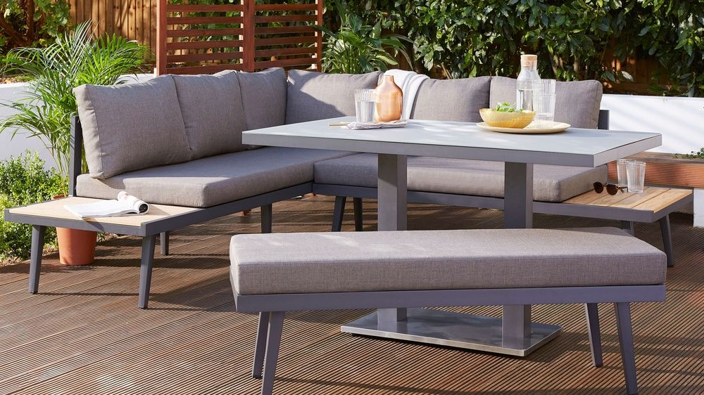 Palermo Grey Right Hand Corner Outdoor Dining Bench Contemporary