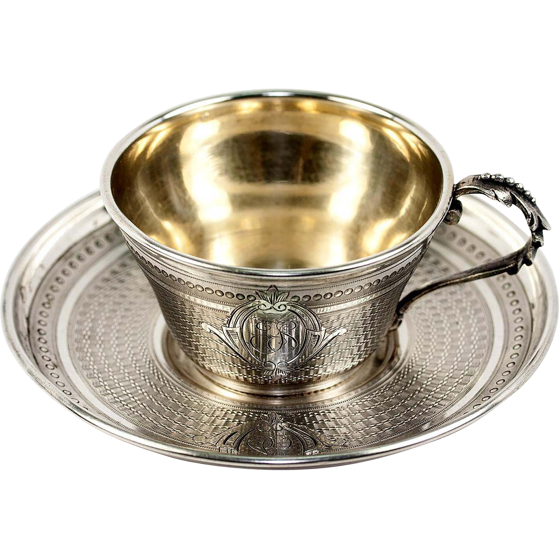 Antique French Sterling Silver Demitasse Coffee Or Tea Cup Saucer  ~ Tazas Para Infusiones El Corte Ingles