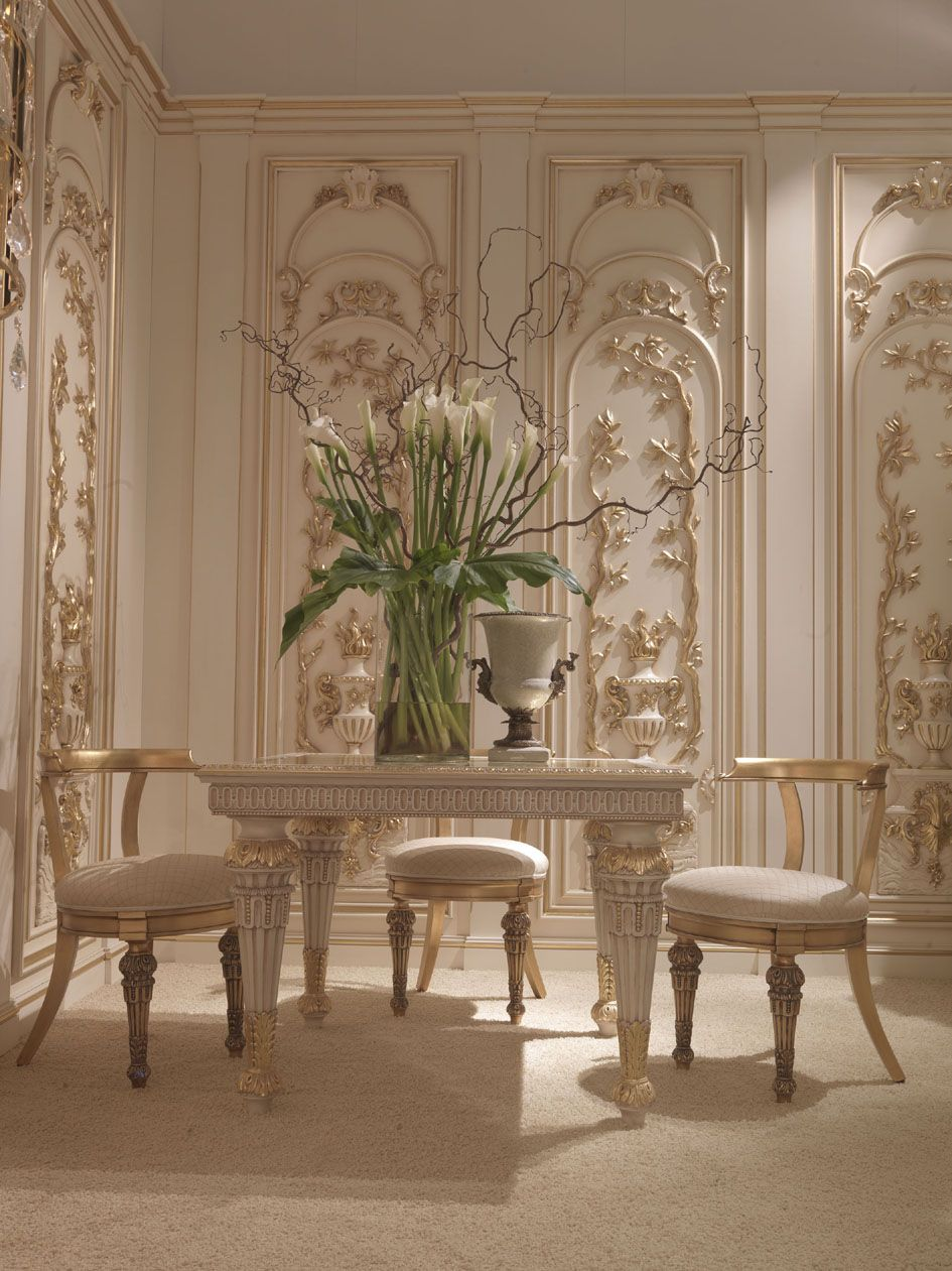 Furniture Cool French Dining Room Decoration Using White Gold