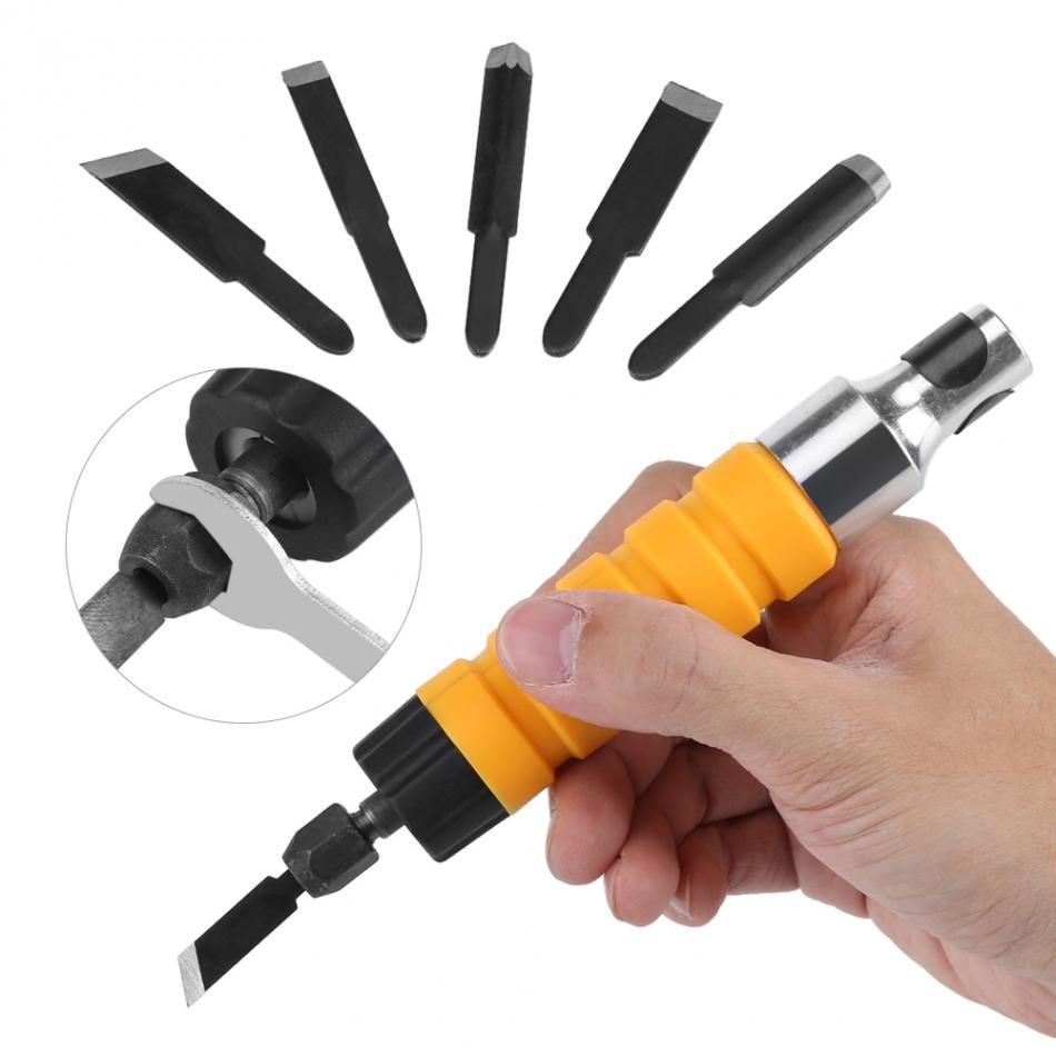 Tallado en Madera – Madera eléctrica talla cincel talla de madera herramientas de grabado cuchillo herramienta de mano con 5 cuchillas y 1 llave