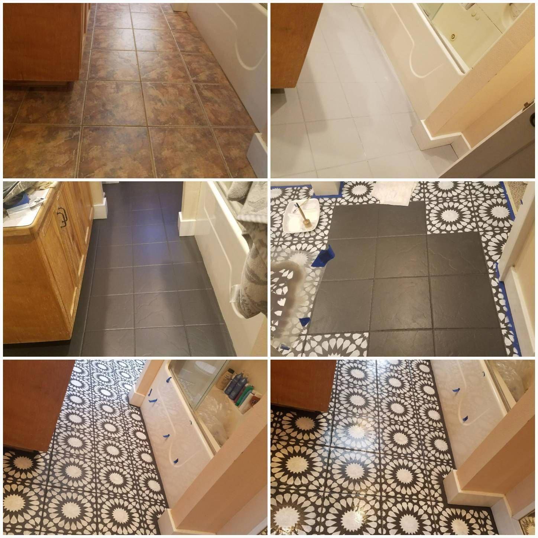 Diy Bathroom Floor Tiling Refurbished With Cordelia Tile Stencil Bathroomideas Tile Paint Diy Di Diy Flooring Painting Bathroom Tiles Diy Bathroom Decor