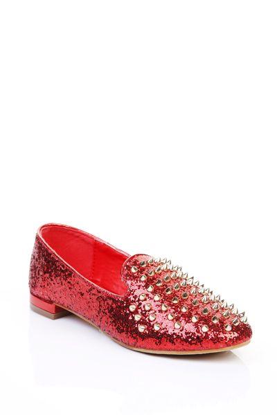Glitter Studded Slip-On Flats