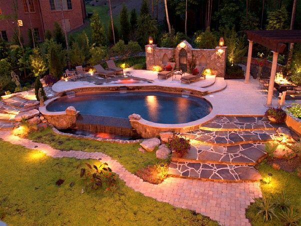 Best Landscape Lighting Ideas Around Pool In Large Backyard Kidney Shaped Pool Diy Outdoor Lighting Pool Landscape Design