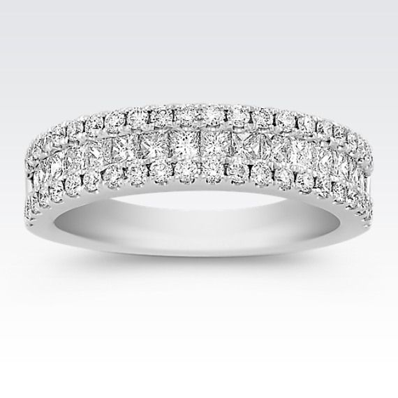 42075a392d6 Princess Cut   Round Diamond Wedding Band