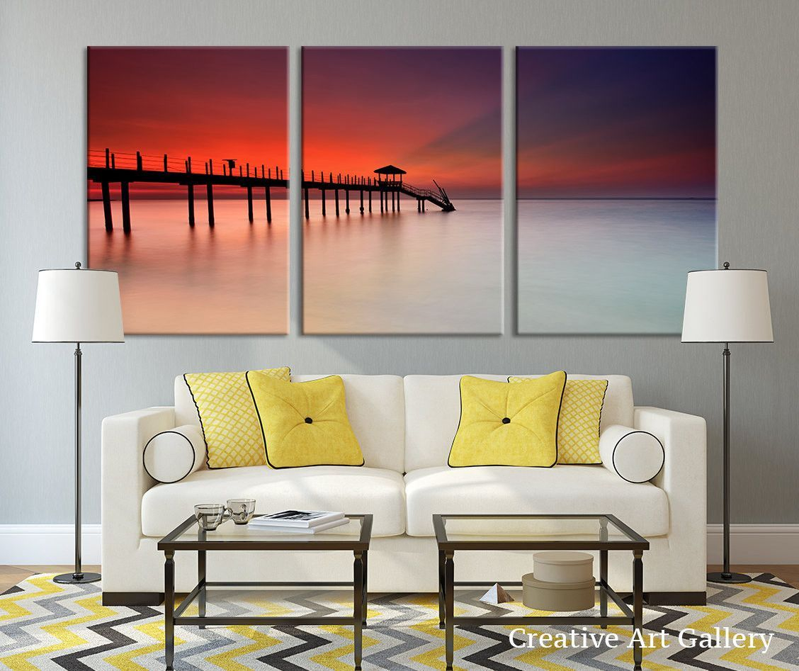 The Red Weather On The Pier Canvas Print Large Canvas Wall Art