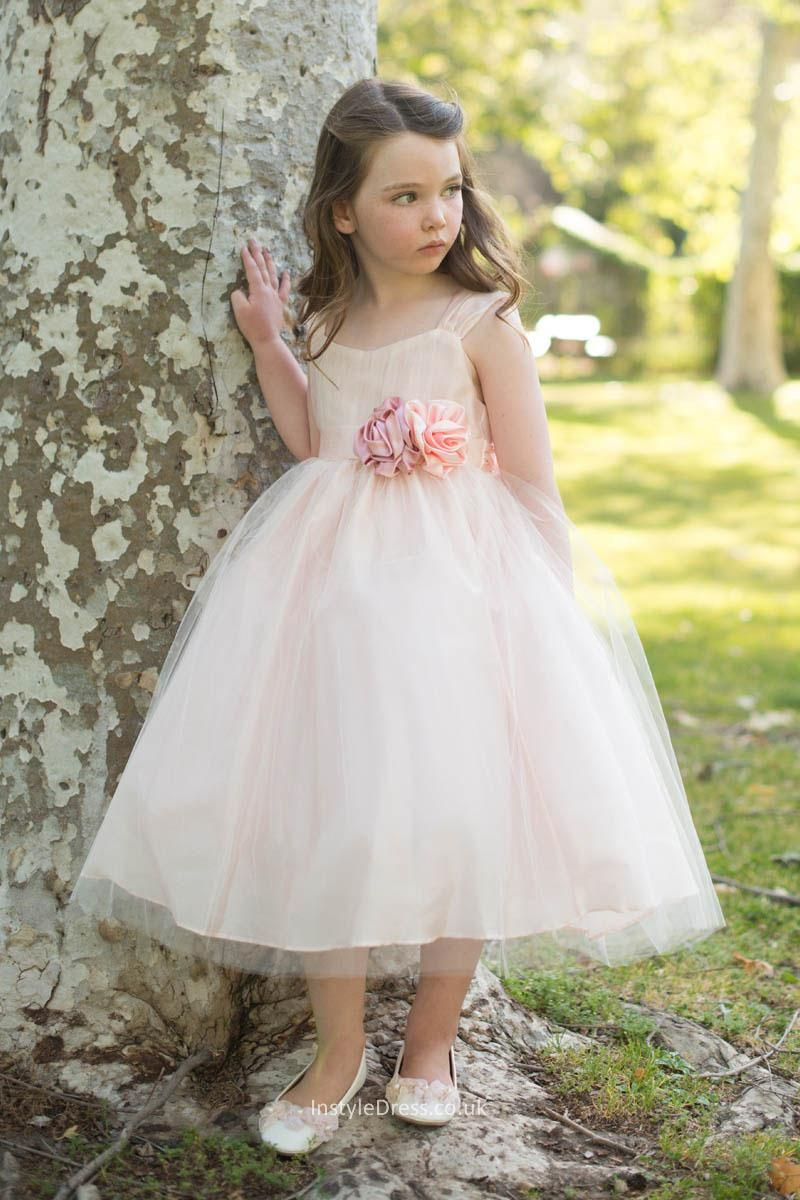 Buy Uk Princess Blush Pink Tulle Ball Gown Flower Girl Dress Uk At