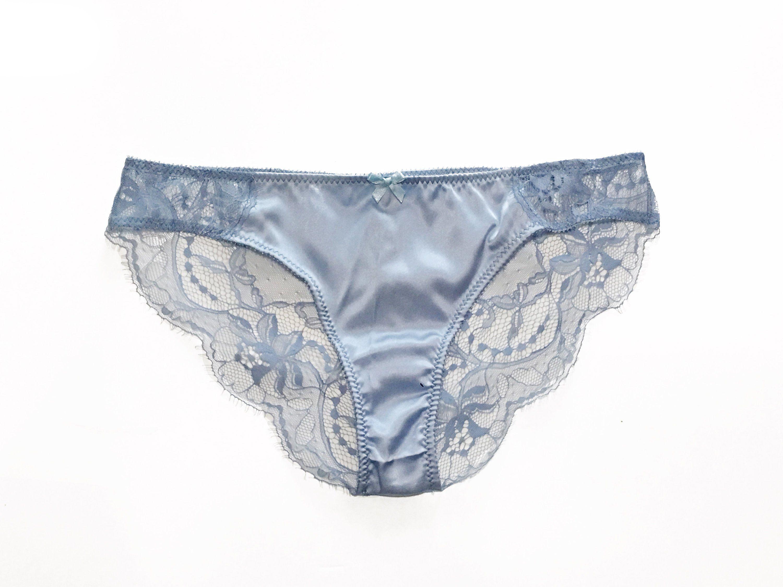 LADIES Stretch Mesh BRIEFS Sheer Lace Soft Feel KNICKERS Panties Underwear BLUE