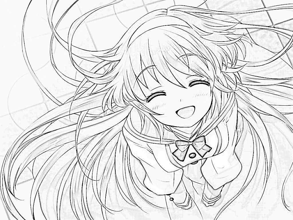 Cute Anime Girl Coloring Page