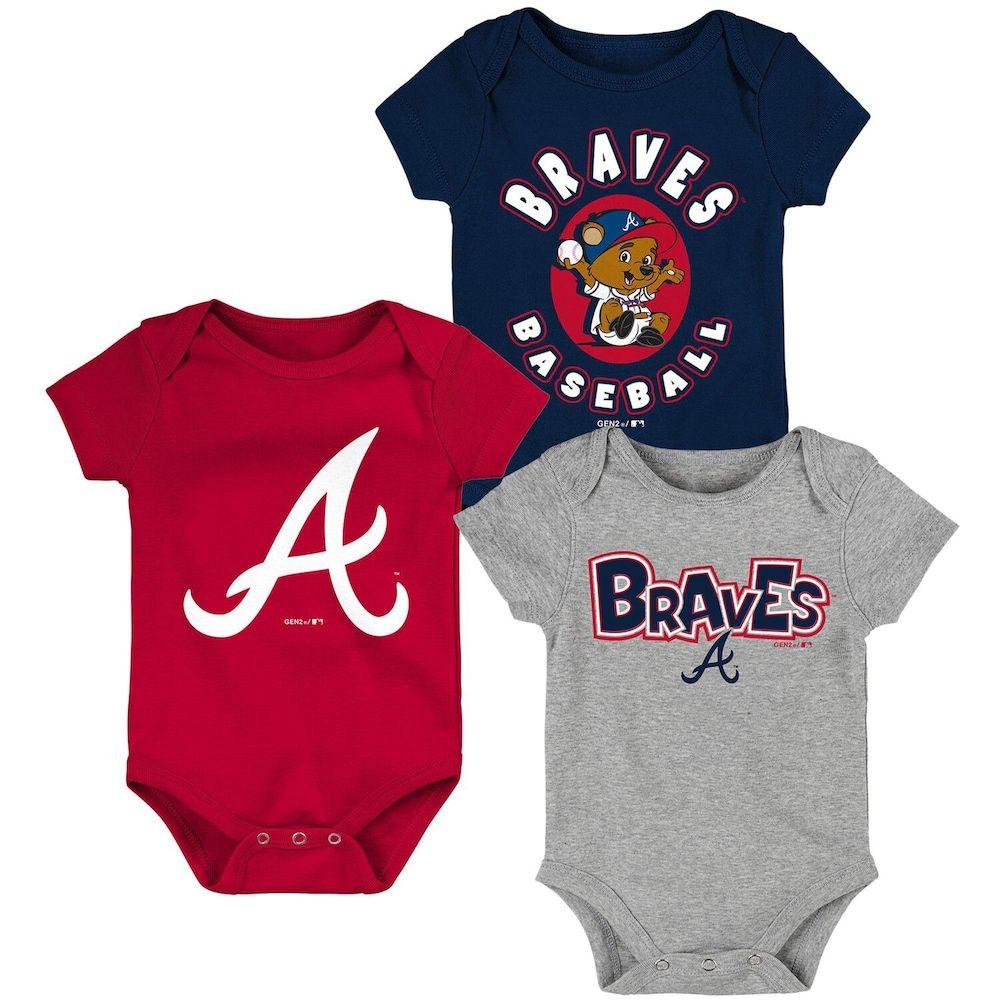 Newborn Infant Navy Red Gray Atlanta Braves Everyday Fan Three Pack Bodysuit Set Atlanta Braves Baby Braves Atlanta Braves