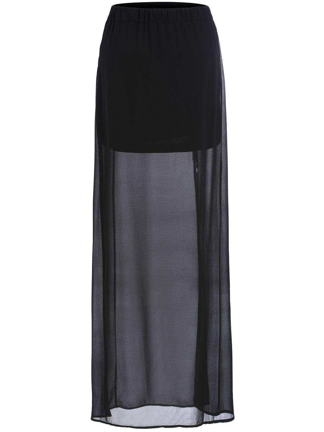 971f59f36f Shop Black Split Sheer Chiffon Skirt online. SheIn offers Black Split Sheer  Chiffon Skirt & more to fit your fashionable needs.