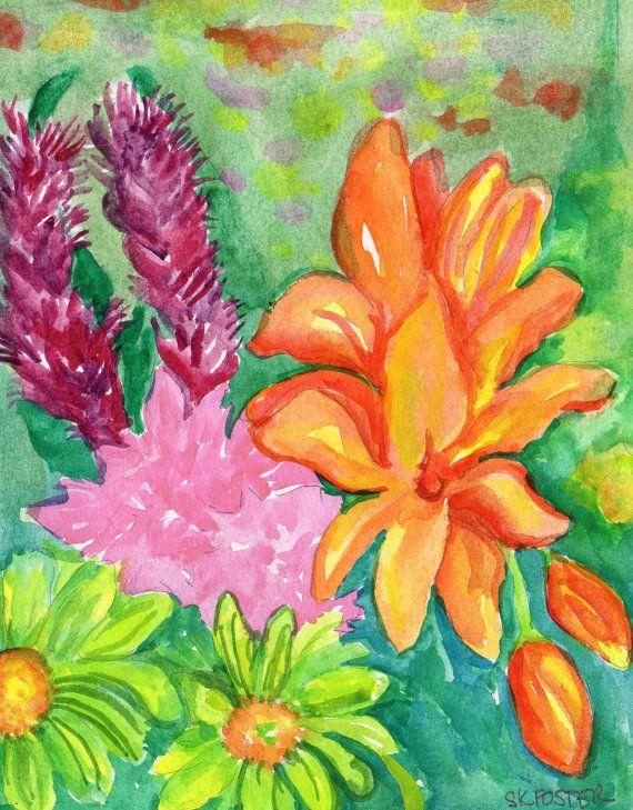 Tropical Flowers Watercolors Paintings Original 5 X 7 Watercolor