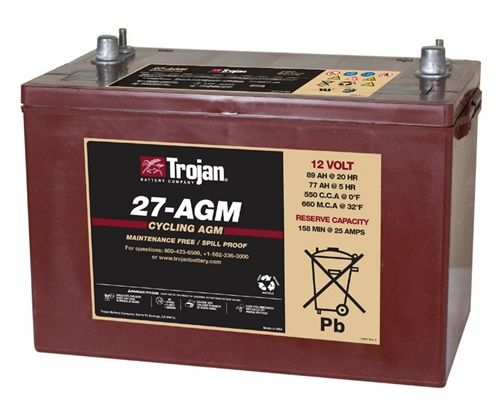 Trojan Battery 27 Agm 12 Volt 100 Amp Hour Agm Deep Cycle Battery Deep Cycle Battery Energy Storage Automobile Engineering