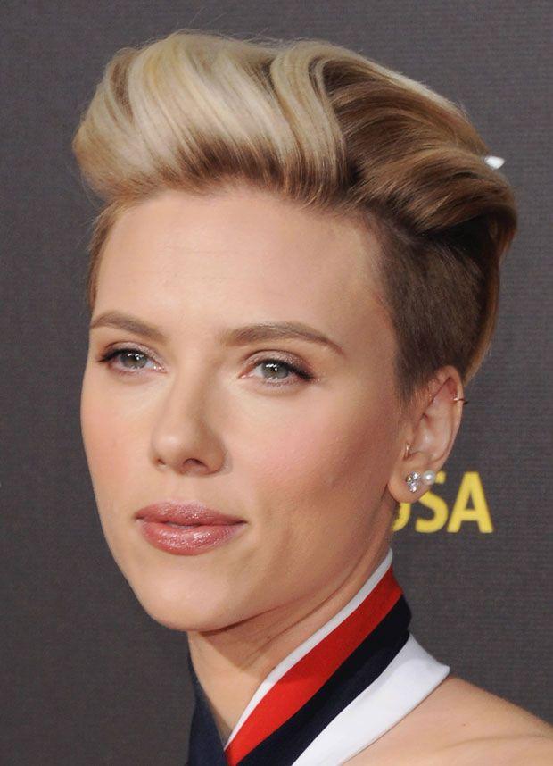 Johansson scarlett rocks refined undercut romantic makeup photo