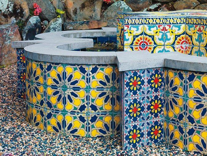 Tiled Fountain Garden Fountain Mediterranean Berkeley