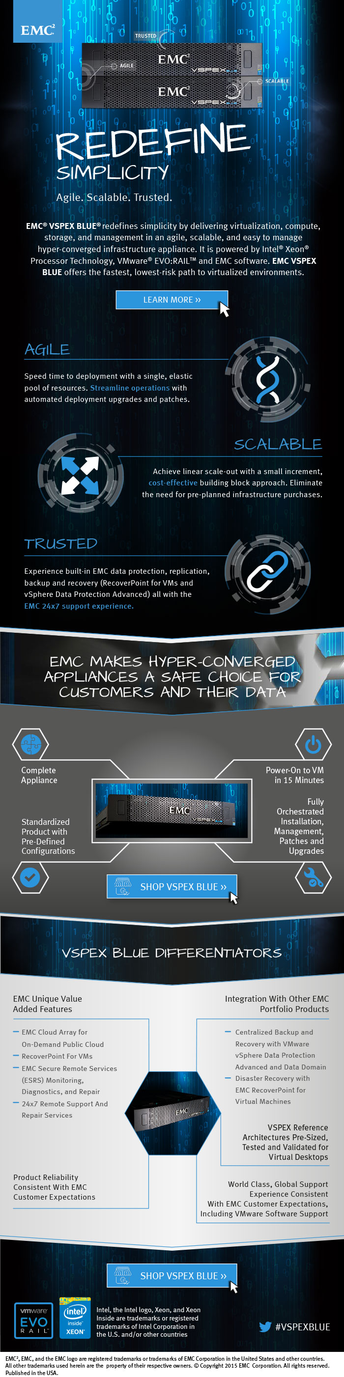 Vspex Blue Redefines Simplicity Hyper Converged Infrastructure Emc Infrastructure Innovation Technology Infographic