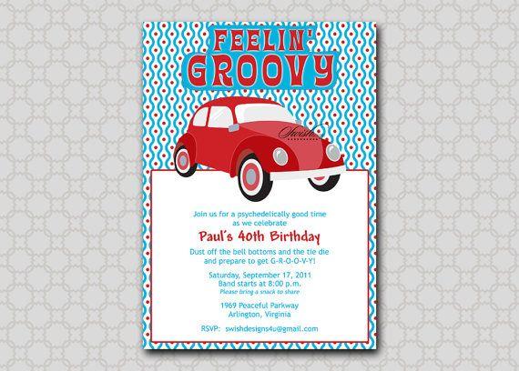 Adult Birthday invitation VW bug 0 Groovy 60s 70s inspired – Digital Birthday Party Invitations