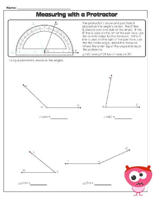 Measuring With A Protractor 2 Protractor Free Worksheets And