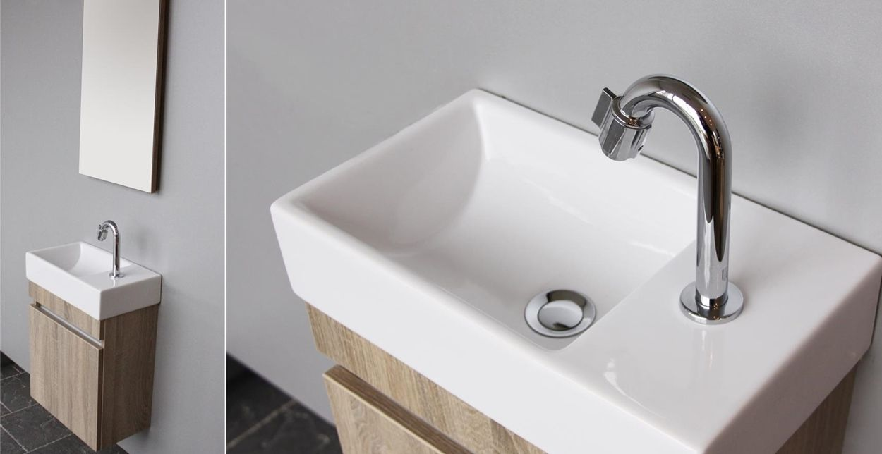 Toiletmeubel met opbergruimte, wasbak en spiegel Day van Thebalux #toiletmeu # Wasbak Toilet_215206