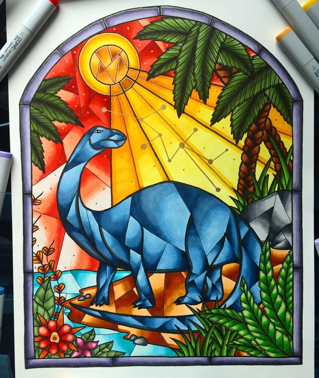 Brontosaurus Stained Glass Window drawing - all finished ...