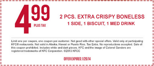 Kfc Offers Two Pieces Extra Crispy Boneless With One Side One Biscuit And One Medium Drink For 4 99 With Coupon Through Kfc Coupons Printable Coupons Coupons